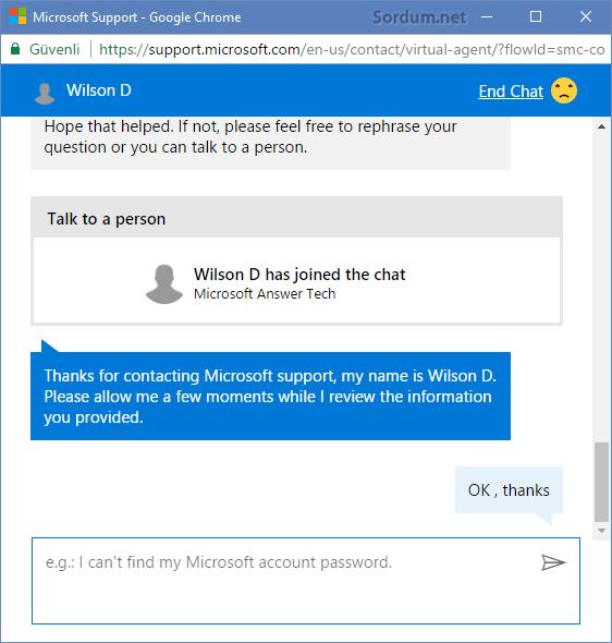 Microsoft çalışanı ile sohbet penceresi