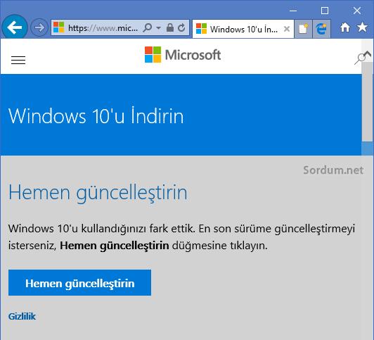 Microsoft windows indirme sayfası