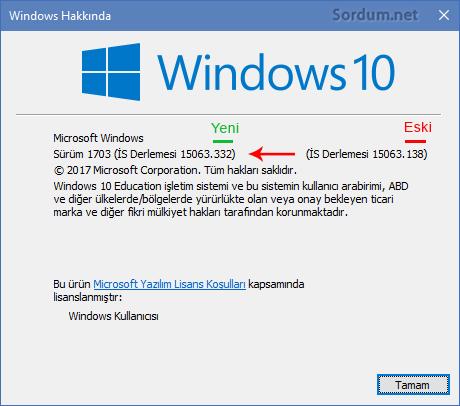 Güncellemeden sonra windows sürüm numarası