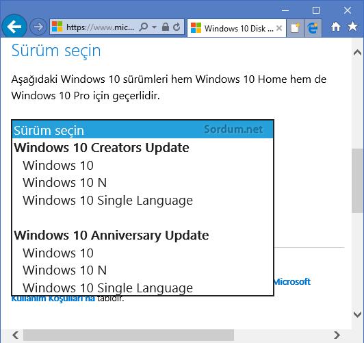 Windows sürümünü seçelim