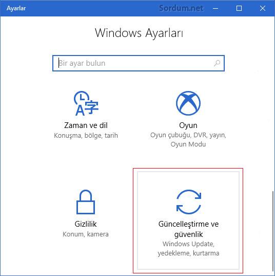 Windows 10 güncelleştirme ve güvenlik