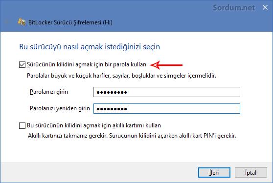 Bitlocker ile çıkartılabilir sürücüye şifre atamak