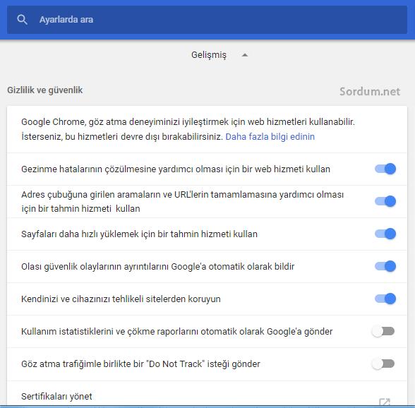 Chrome yeni ayarlar arayüzü
