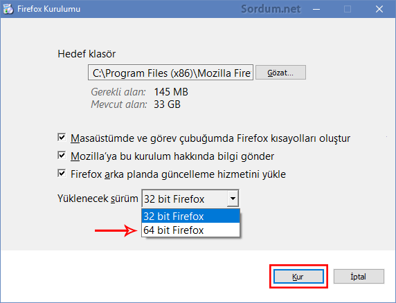 firefox online kurulum Kur butonu