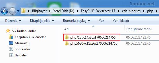 Easy php php sürüm klasörü