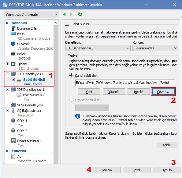 SSD - sanal sabit disk ekleme