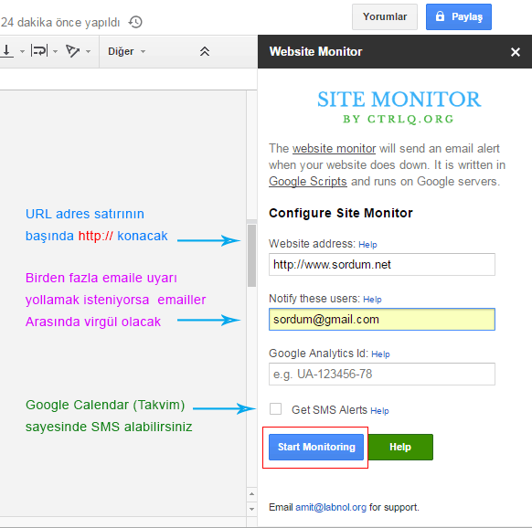 Website monitör ayarları
