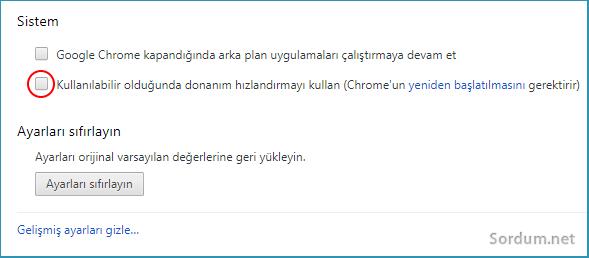 Chromede donanım hızlandırmayı devre dışı bırakma