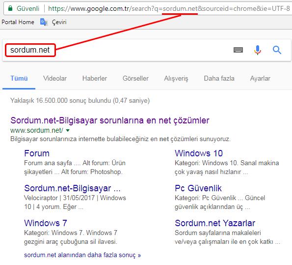 Arama kutusu ile google arama sonucu