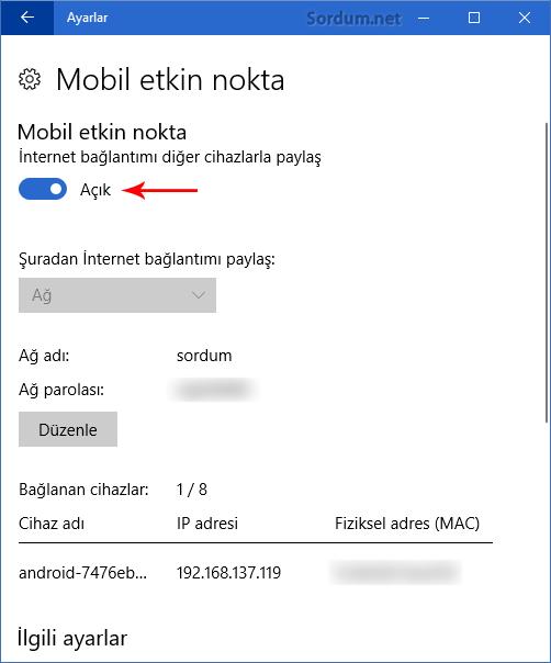 Windows 10 Mobil etkin nokta