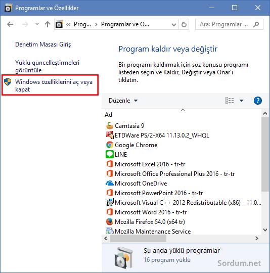 Windows özelliklerini aç kapat
