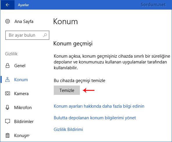 Windows 10 da konum geçmişini temizleme