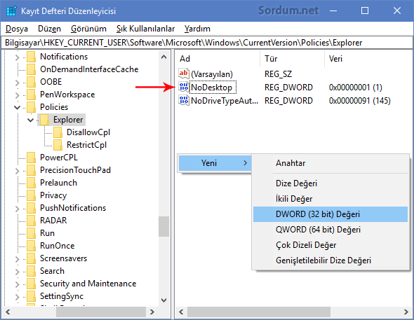 NoDesktop Anahtarı
