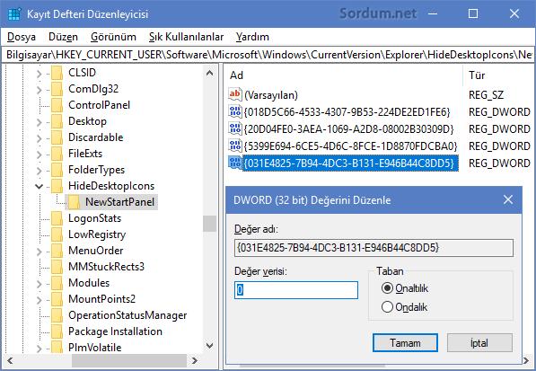 Registry Dword değeri sıfır