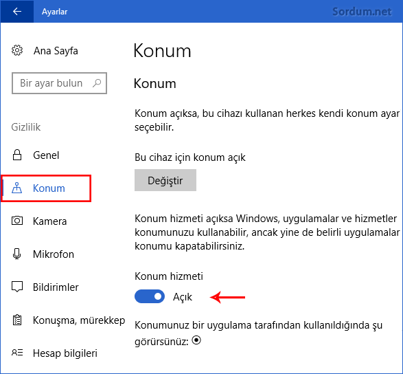 Windows 10 da konum kapatma