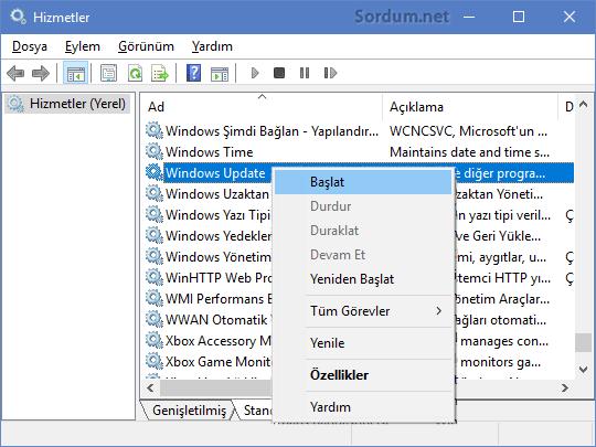 Windows Update servisini başlatalım