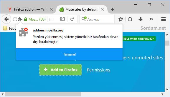 Firefox yazılım yüklemesi devre dışı