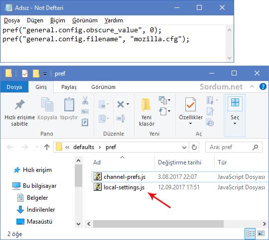 Firefox local settings.js