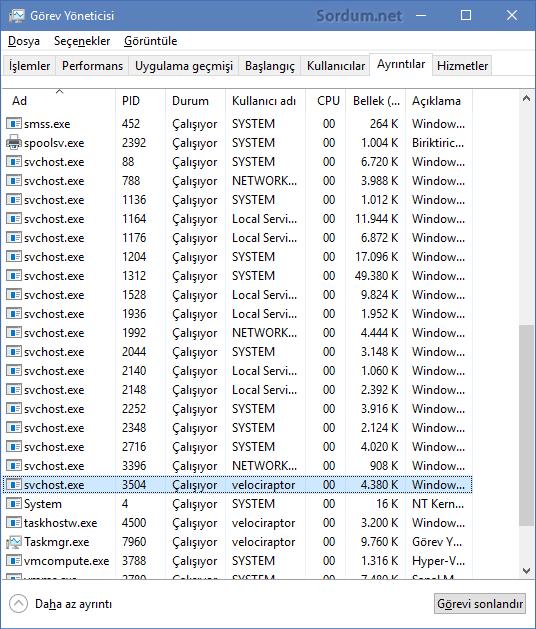 svchost.exe sayısı düştü