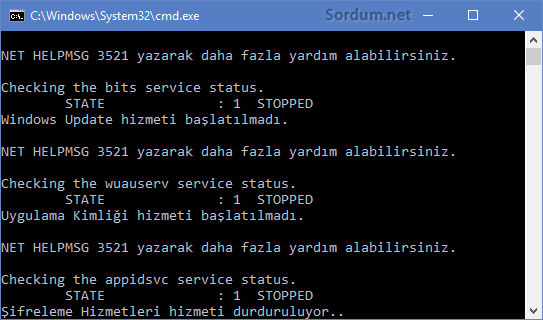 Windows Update onarım scripti