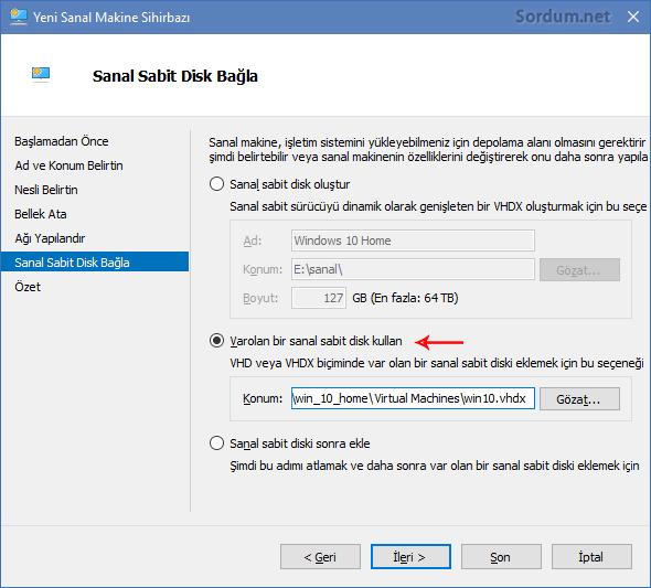 varolan bir sanal disk kullan