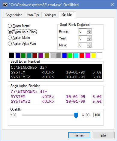 Windows 10 renkler