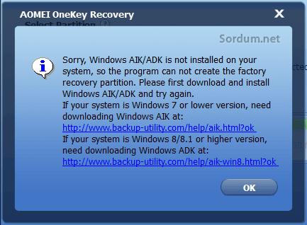 Aomei Onekey hatası