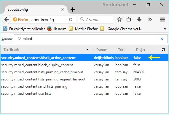 Firefox security mixedi kapatalım