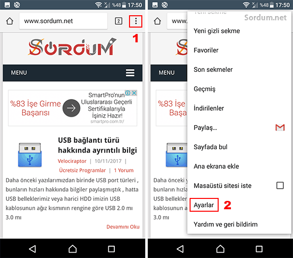Android chrome ayarlar