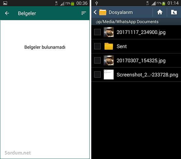 whatsapp belge bulunamadı