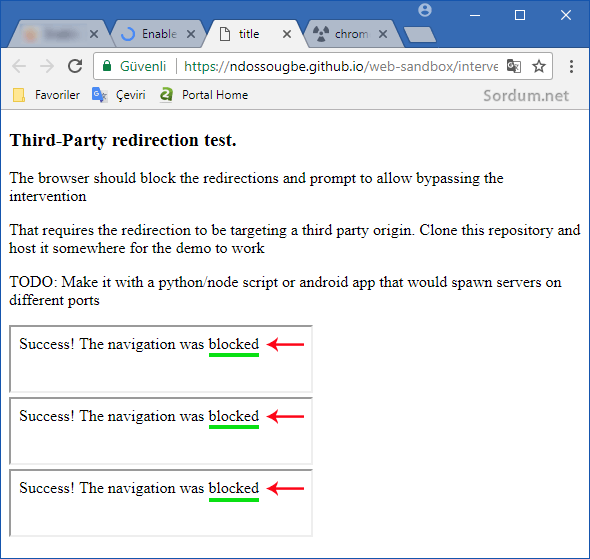 Chromede istenmeyen yönlendirme engellendi