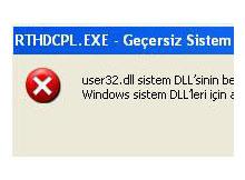 RTHDCPL.EXE hatası ve düzeltilmesi