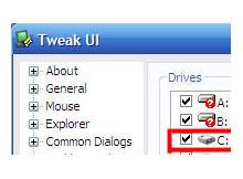 kaybolan C veya D ikonunun geri getirilmesi (TweakUI)