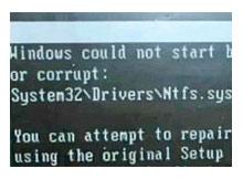 Eksik veya Bozuk Hatası System32\Drivers\Ntfs.sys