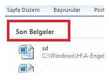 Office 2010 da son belgelerin silinmesi