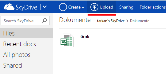 skydrive upload