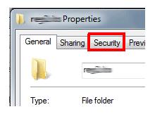 security tabını kaldıralım