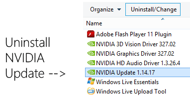 Nvidia Update kaldir