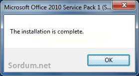 Office 2010 a sp2 entegresi başarılı