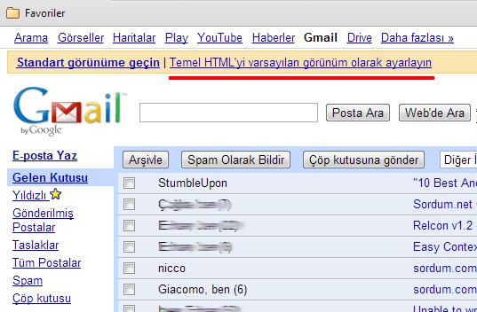 Gmail temel html gorunum