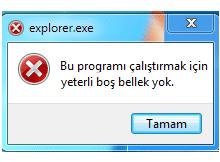 explorer.exe yetersiz bellek hatası çözümü