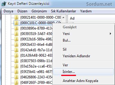 Registry de izinler