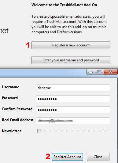Trash mail yeni hesap
