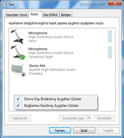 Stereo mix ile ses kaydı