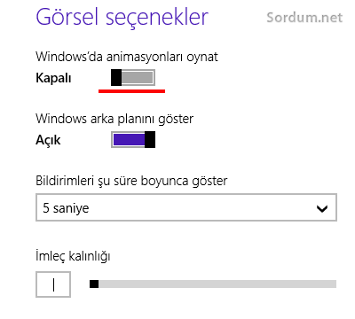 Windows 8.1 de animasyon yok