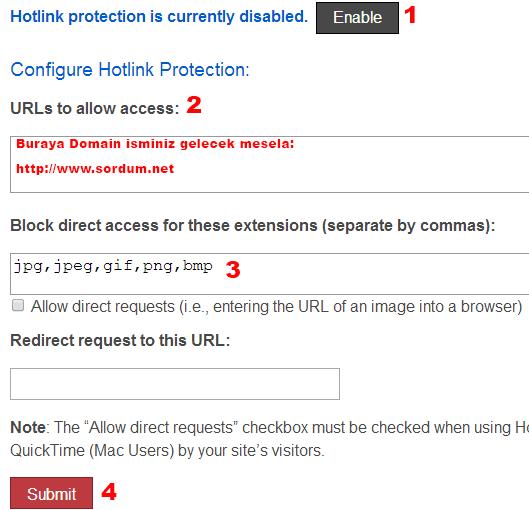 hotlink protection cpanel ayarları