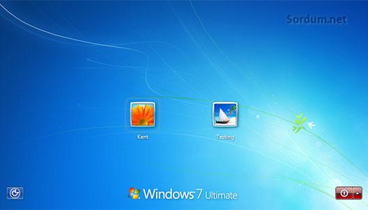 Windows 7 log in ekranı