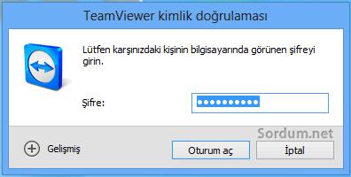 Teamviewer şifre ekranı