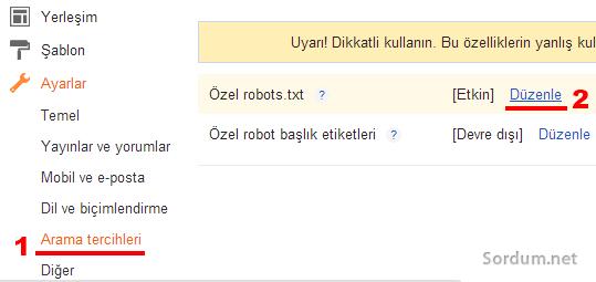 blogger özel robots txt