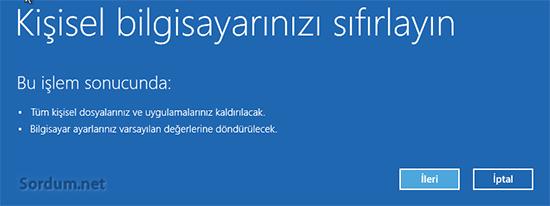 Windows 8.1 format açıklama ekranı